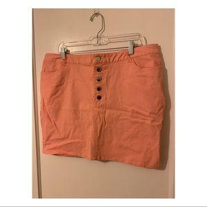 F21+ Jean Stretch Mini Skirt (1 coral, 1 green)